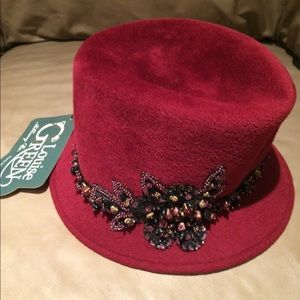 Women's red velour vintage Hat with studded beads